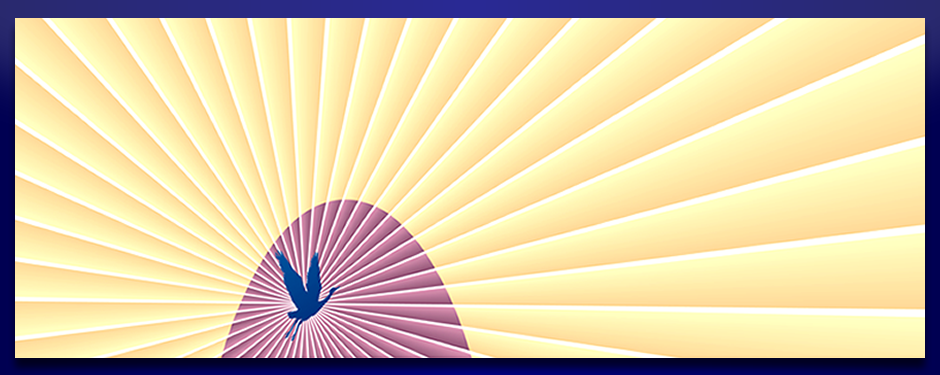 Logo depicting a blue crane flying over a pink hill with gold and white rays emanating 360 degrees from the bird